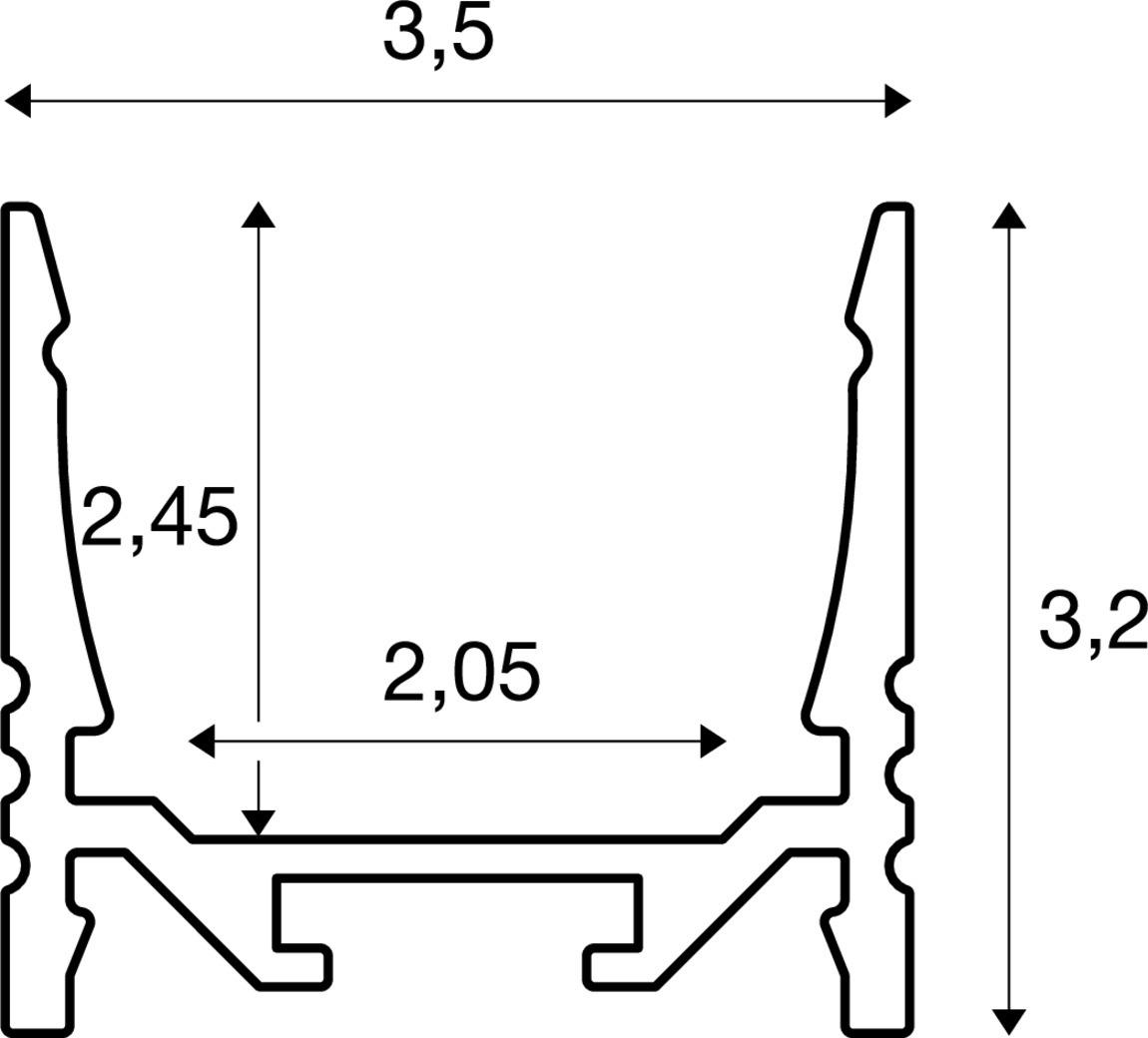 Tekening van GRAZIA 20 LED Opbouw Profiel std. gerib 2m alu
